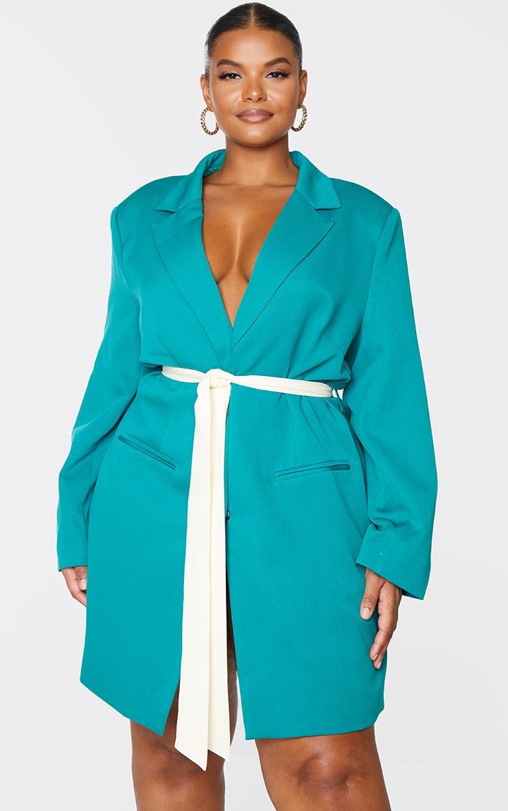 Plus Emerald Contrast Tie Waist Blazer Dress 3