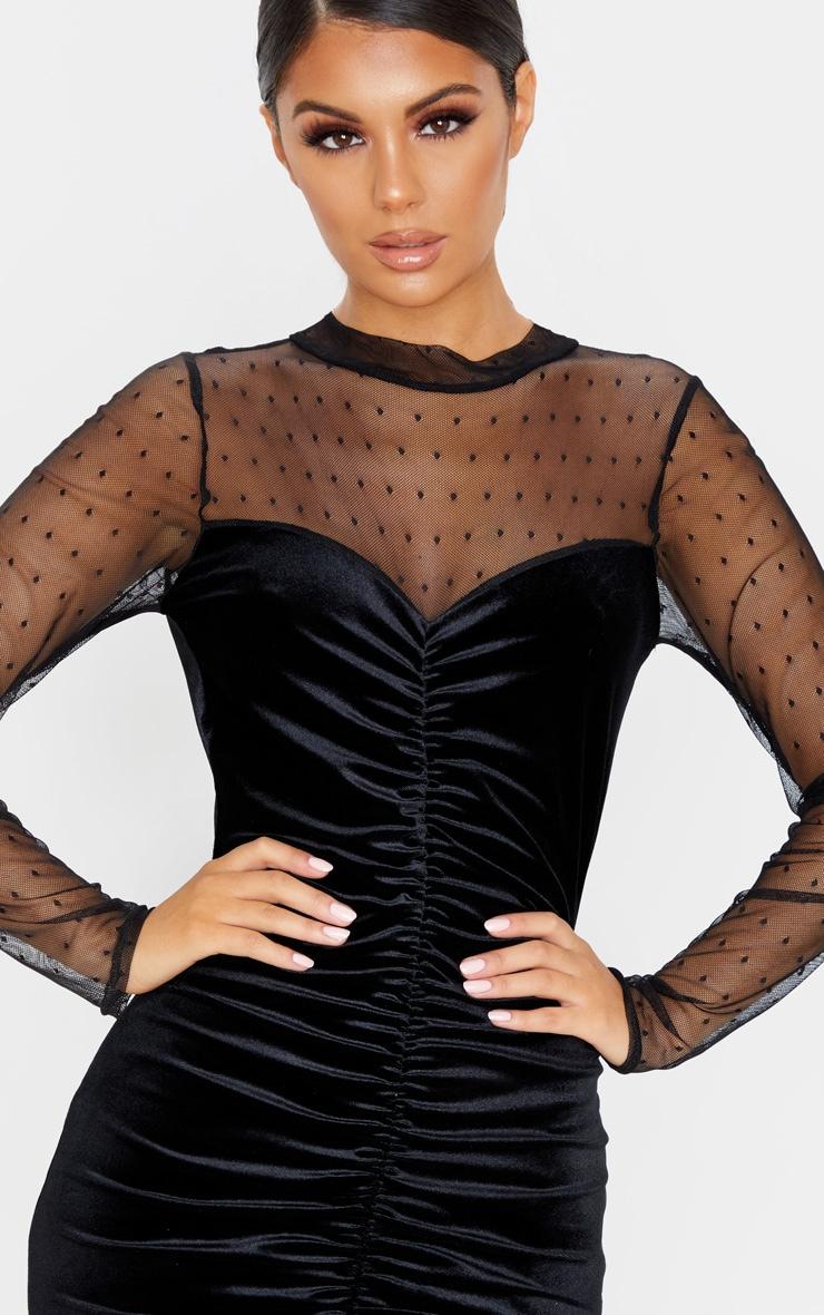 Black Velvet Dobby Mesh Bodice Long Sleeve Bodycon Dress 5