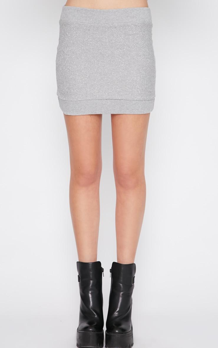 Elba Silver Glitter Boucle Knitted Mini Skirt 2