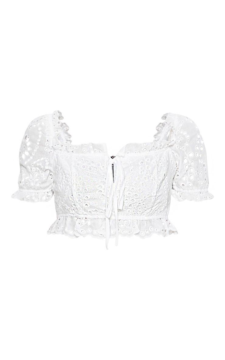 White Broderie Tie Short Sleeve Crop Top 3