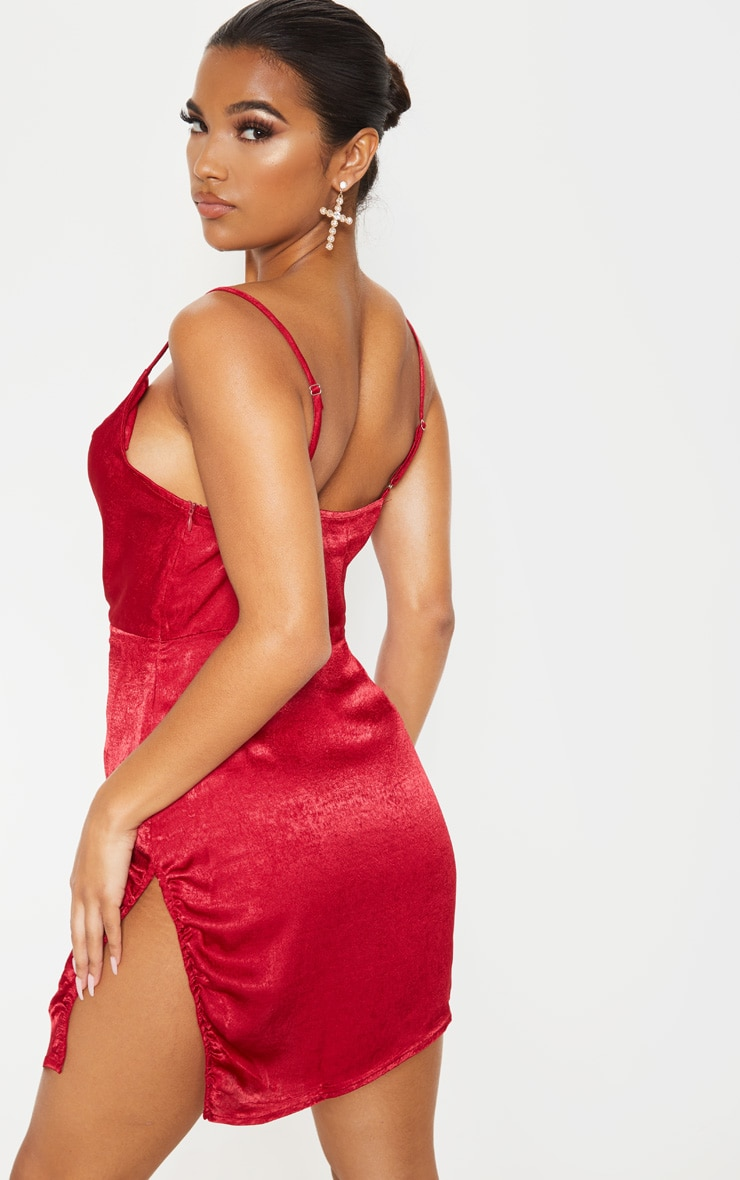 Scarlet Hammered Satin Cowl Ruched Split Bodycon Dress 2