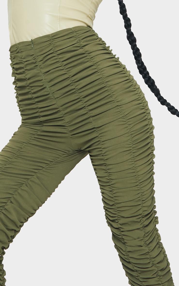 Khaki Ruched Leg Woven Skinny Trousers 4