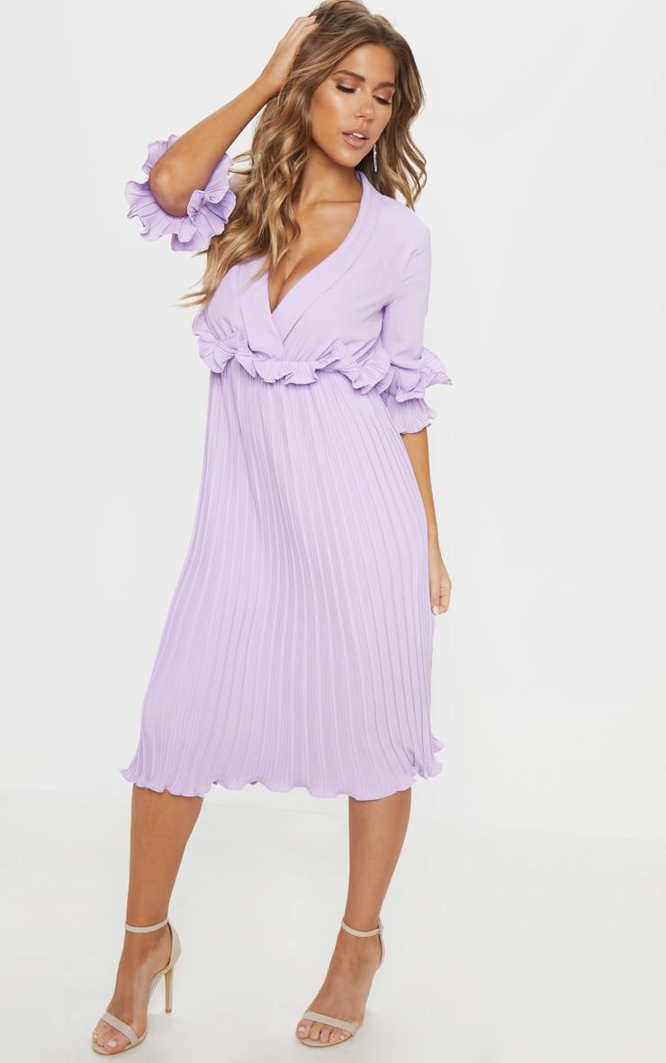 Lilac Frill Detail Pleated Midi Dress 4