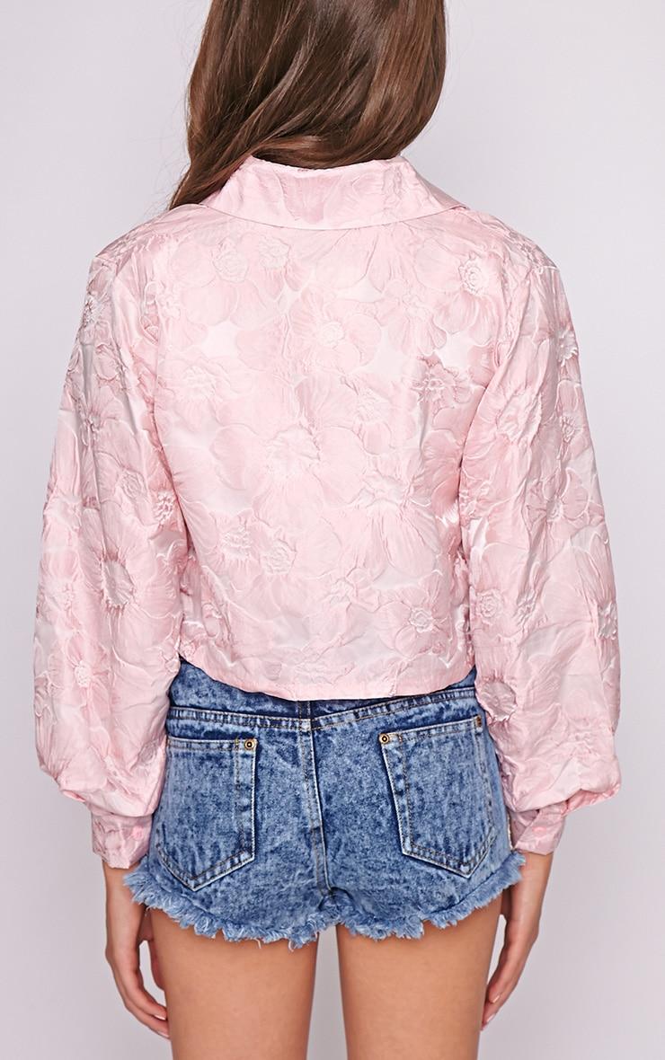 Romy Pink Oversized Cropped Shirt 2