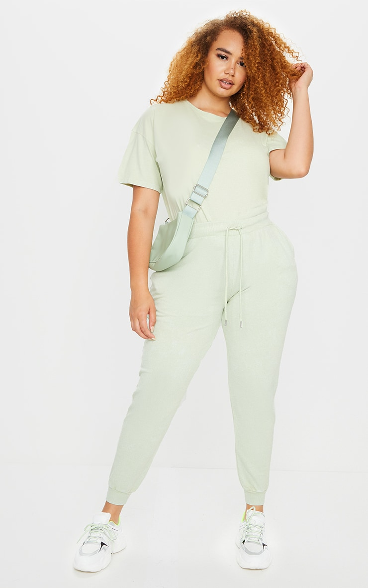 Plus Sage Green Acid Wash Joggers 1