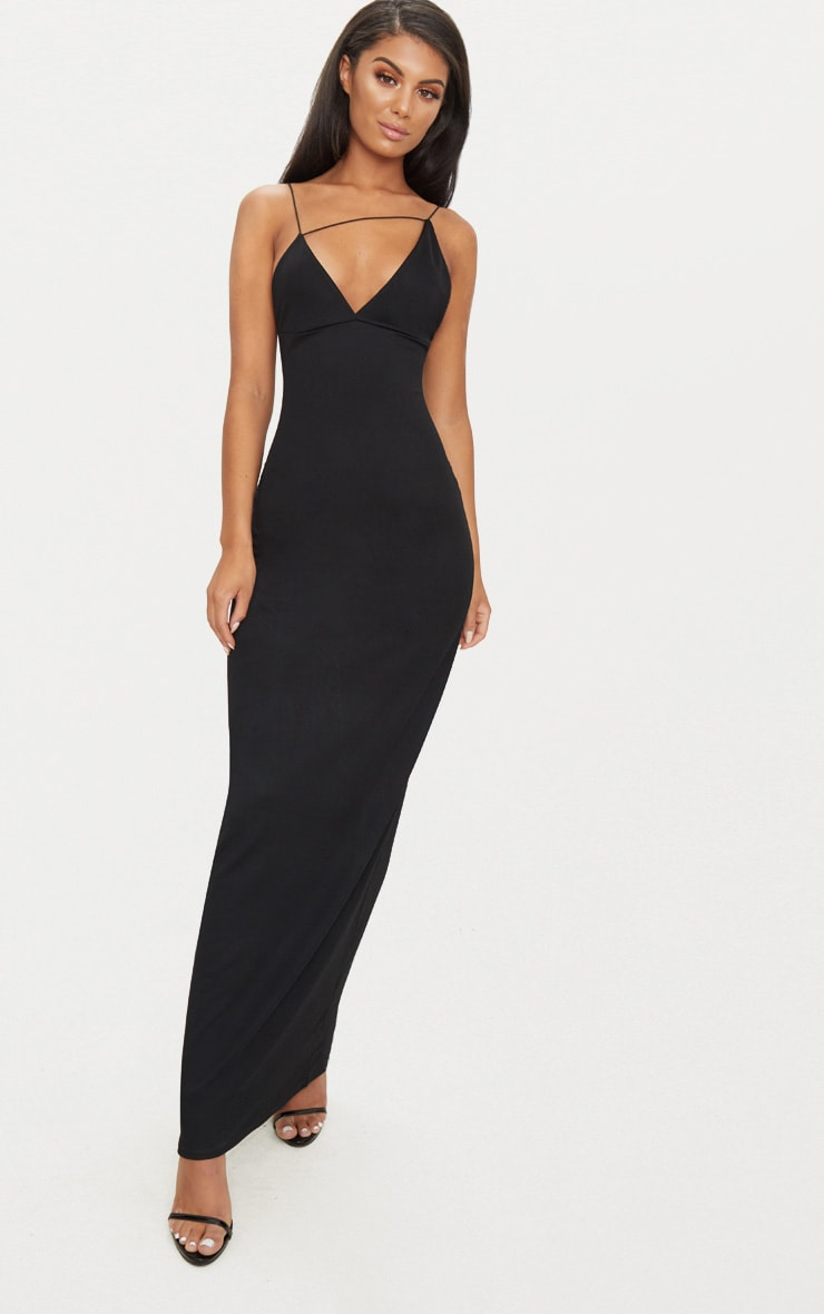 Black Strappy Detail Plunge Maxi Dress 1