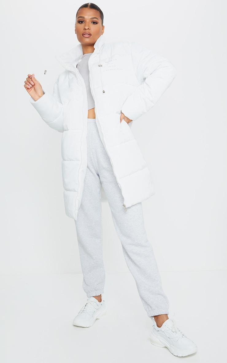 White Slogan Midi Oversized Puffer Coat 3