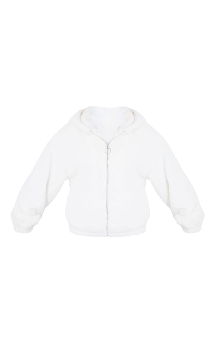 Cream Faux Fur Balloon Sleeve Hooded Jacket 5
