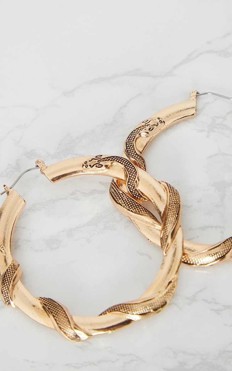 Gold Snake Twist Hoop Earrings 4