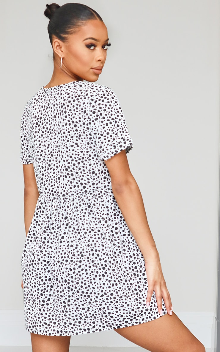White Dalmatian Print Short Sleeve Smock Dress 2