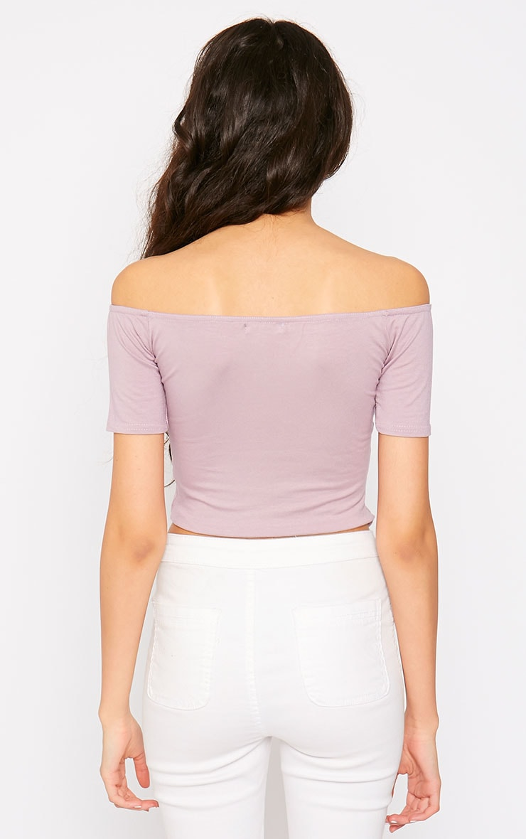 Basic Mauve Bardot Crop Top 2