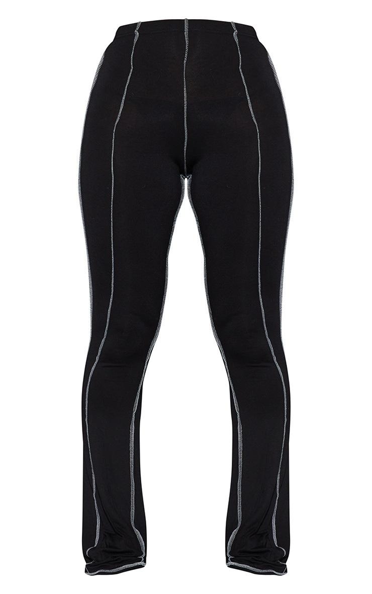 Black Contrast Stitch Seam Flared Trousers 5