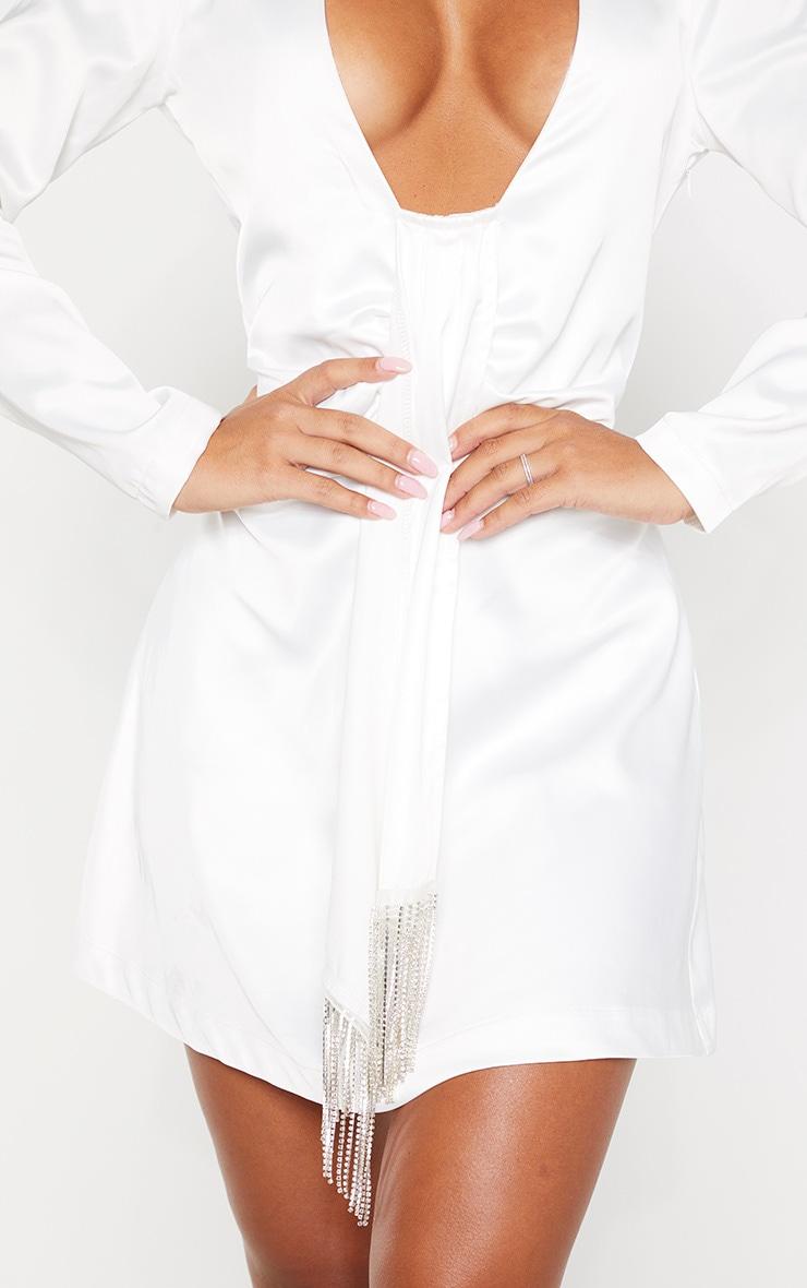 White Extreme Plunge Diamante Drape Shift Dress 5