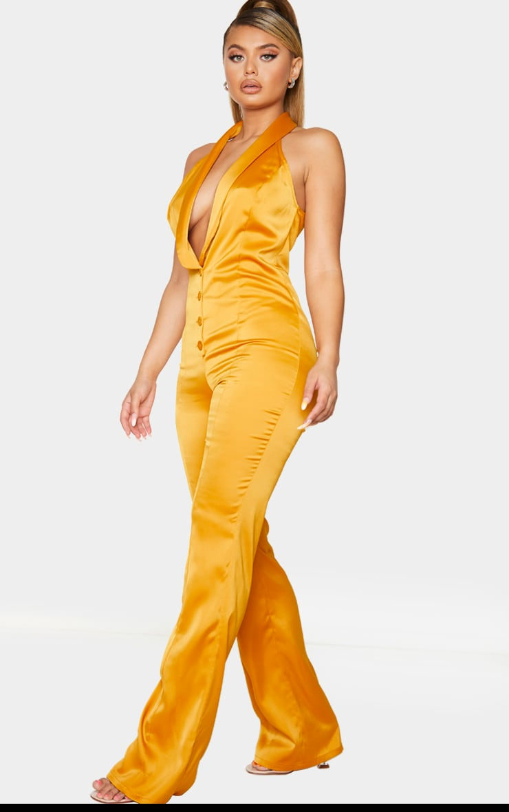 Mustard Satin Button Front Lapel Jumpsuit 3