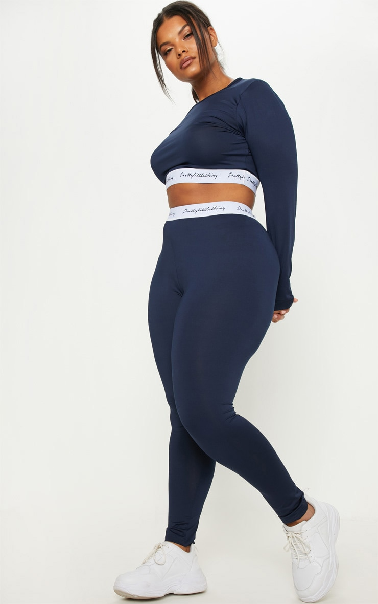 PRETTYLITTLETHING Plus Navy Elasticated Band Leggings 1