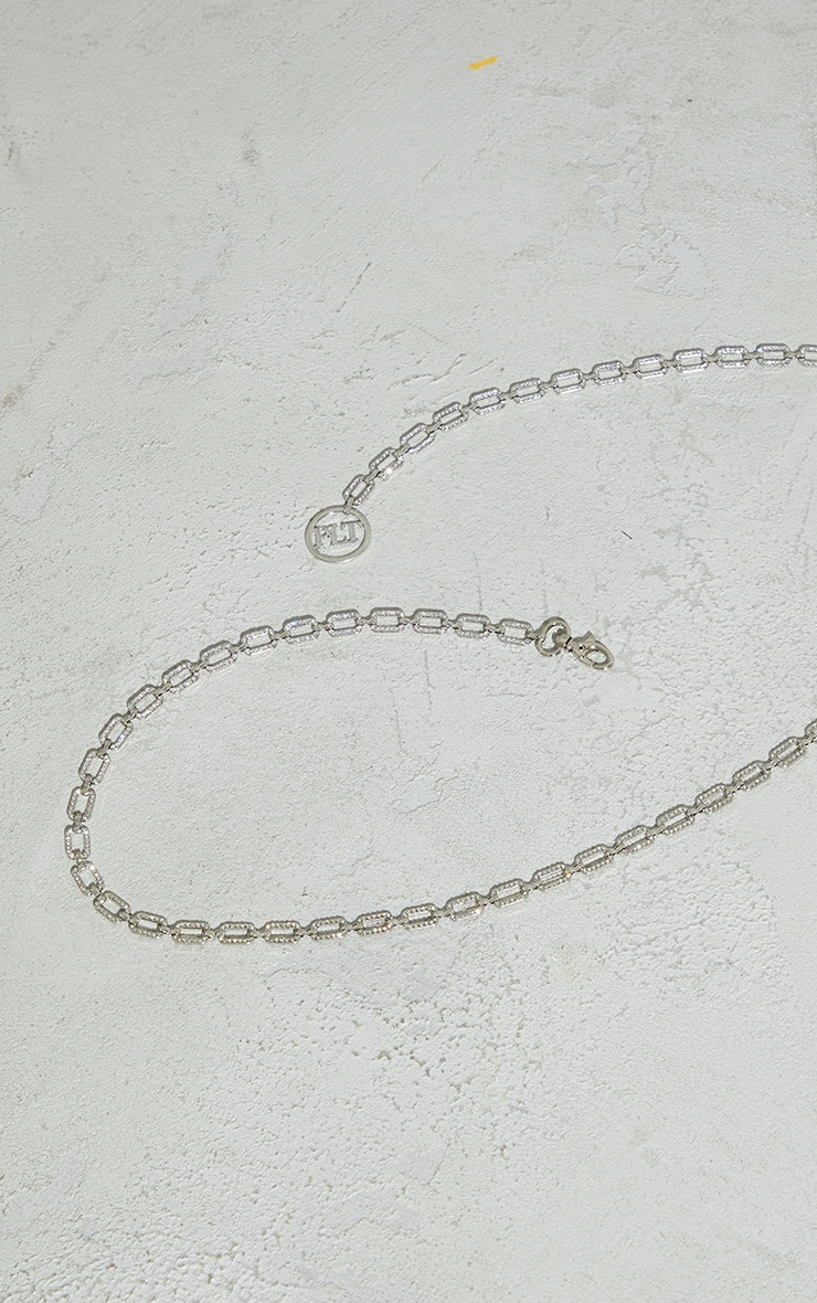 PRETTYLITTLETHING Silver Diamante Square Link Chain Belt 2