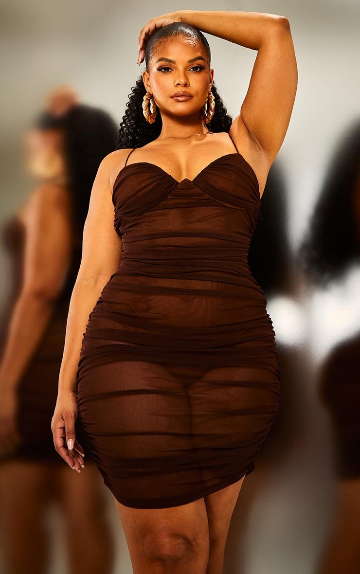 Plus Brown Ruched Mesh Underwire Bodycon Dress 1
