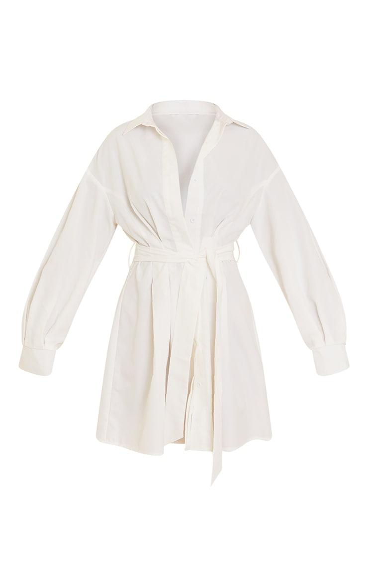 White Pleated Detail Button Down Shirt Dress 5