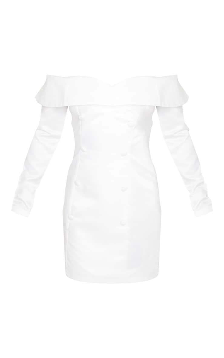 Petite White Satin Bardot Blazer Dress 3