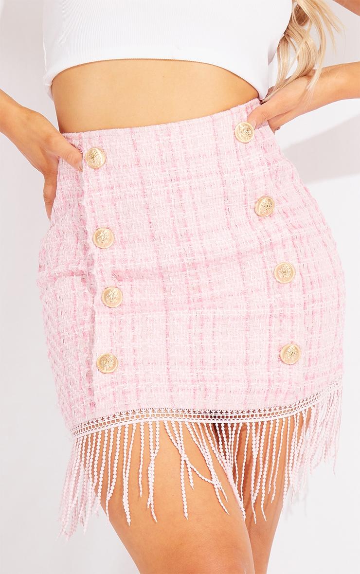 Pink Tweed Button Detail Mini Skirt 5