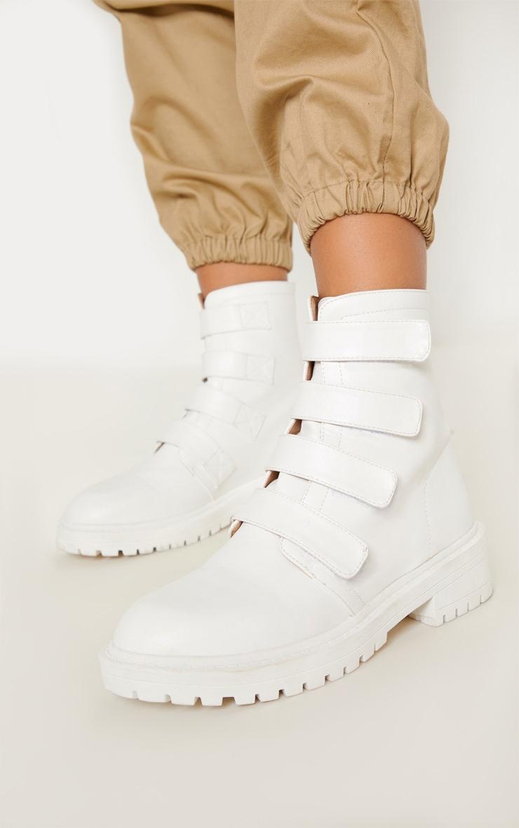 White Velcro Strap Biker Boot 1