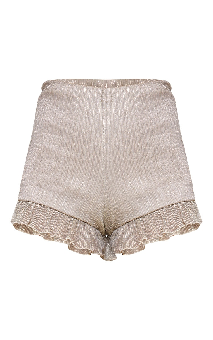 Gold Metallic Pleated Frill Hem Shorts 3