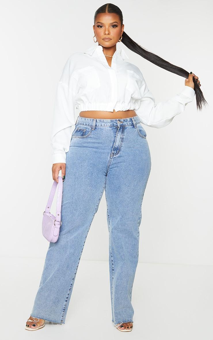 Plus White Backless Cropped Pocket Shirt 1