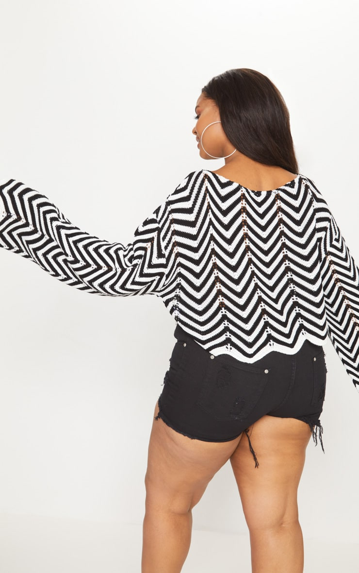 Plus Monochrome Zig Zag Crochet Jumper 2