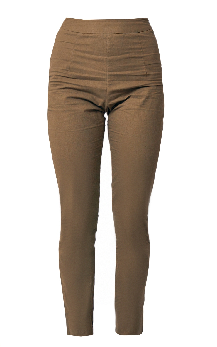 Khaki Woven Linen Straight Leg Pants 5