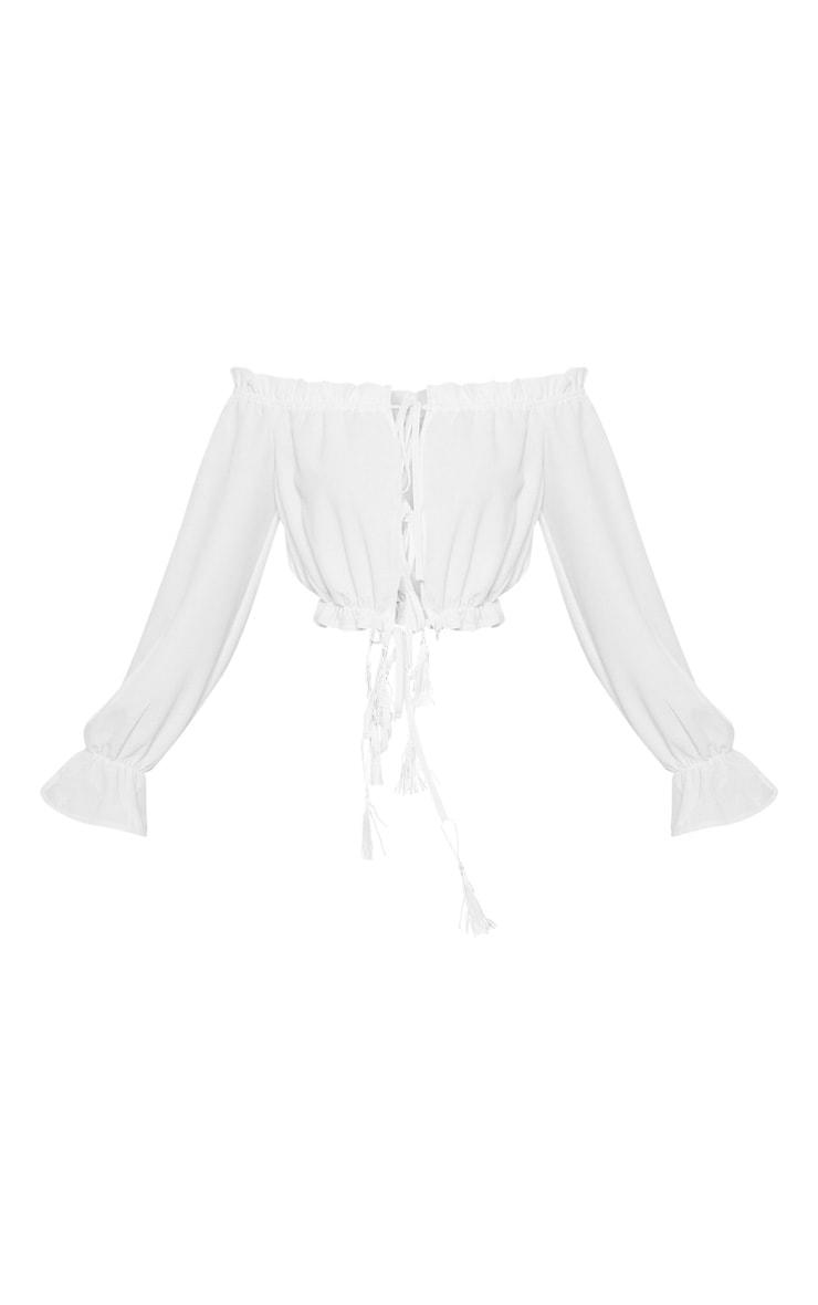 Petite White Tie Front Tassel Detail Bardot Crop Top 3