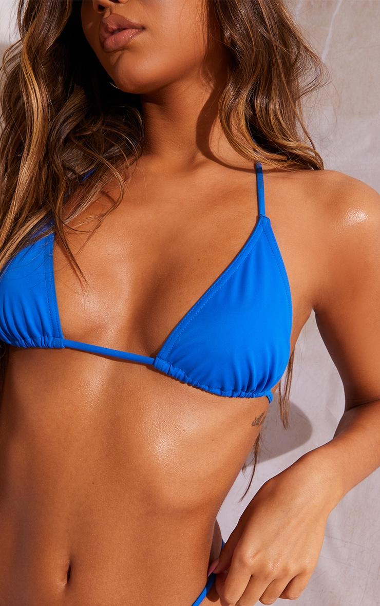 Bright Blue Recycled Fabric Mix & Match Mini Triangle Bikini Top 4