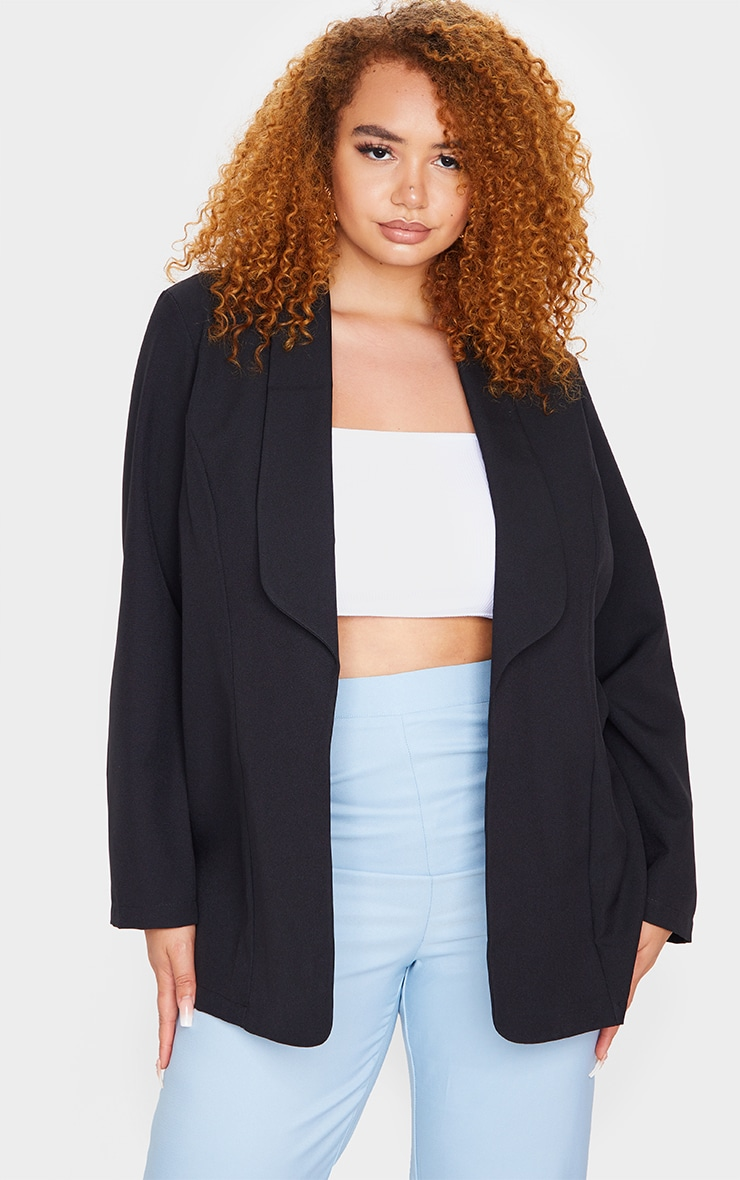 Plus Black Curved Lapel Woven Longline Blazer 1