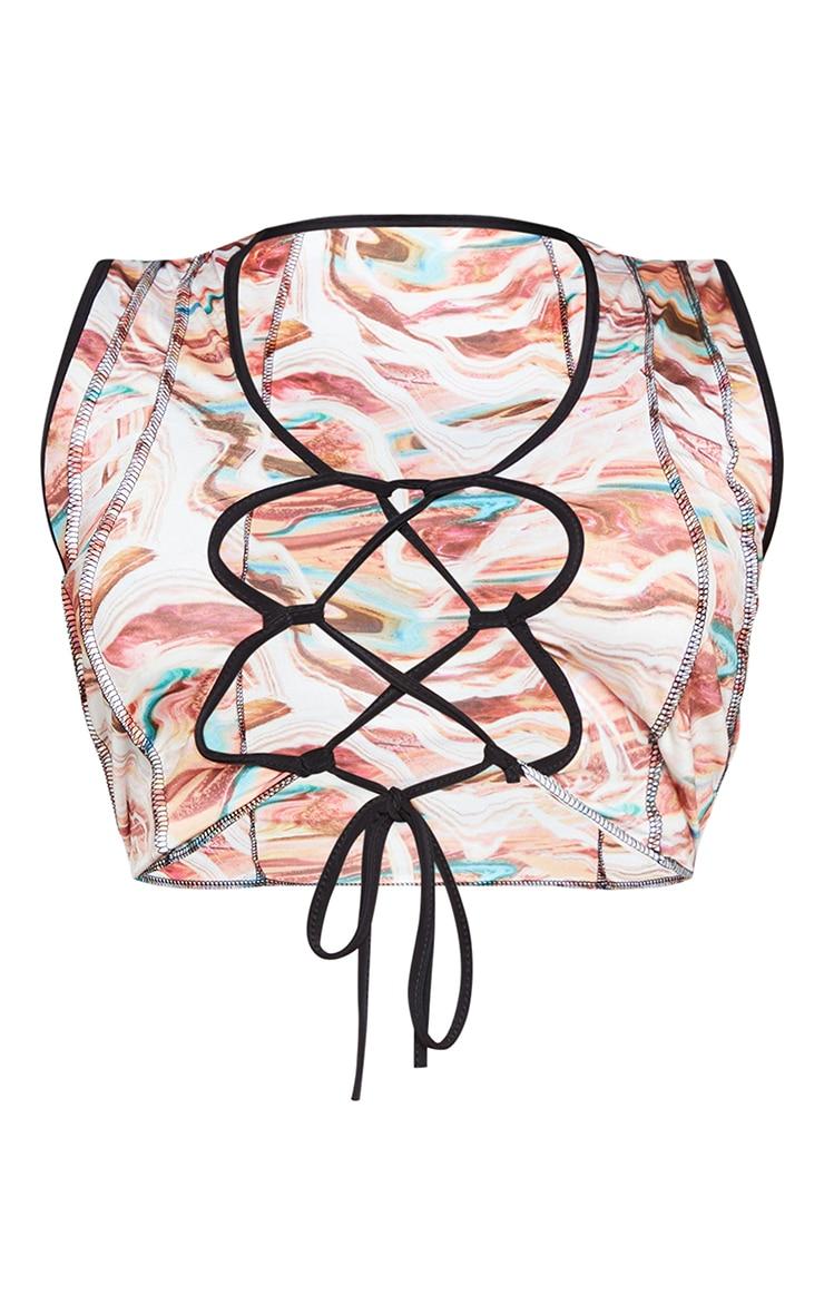 Plus Multi Marble Print Lace Up Contrast Stitch Crop Top 5