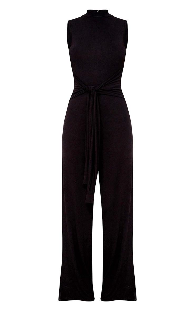 Black Knot Front Wide Leg Jumpsuit  3