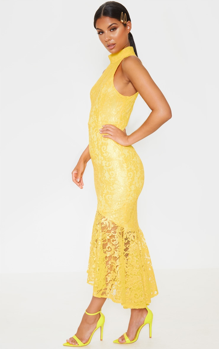 Bright Yellow Lace High Neck Fishtail Midaxi Dress 4