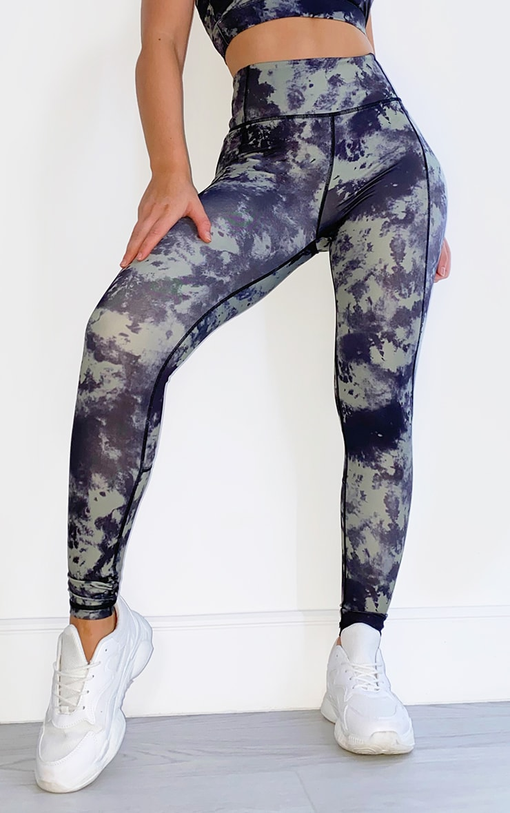 Khaki Acid High Rise Gym Leggings 2