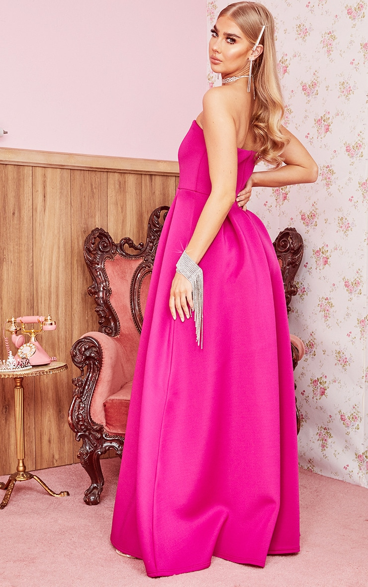 Hot Pink Scuba Bandeau Maxi Dress 2