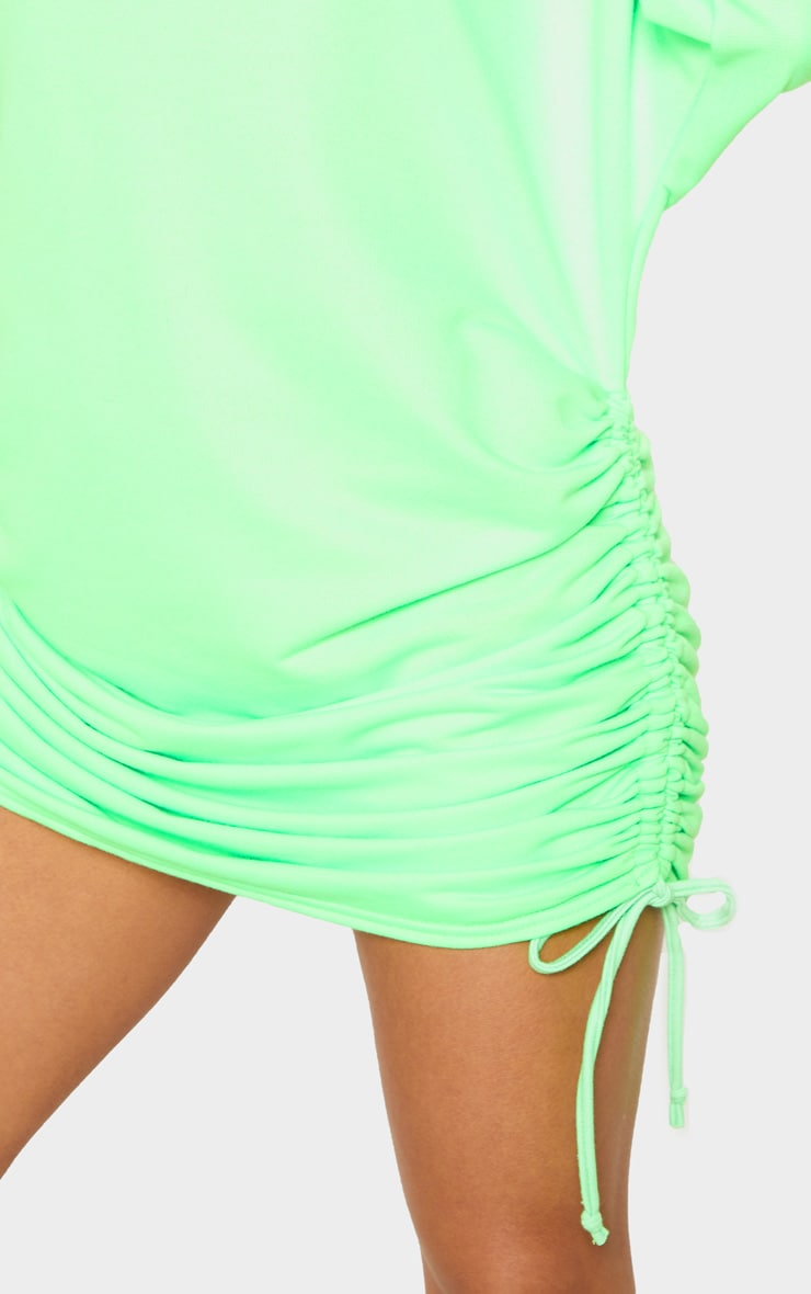 Neon Green High Neck Ruched Side Jumper Dress 5