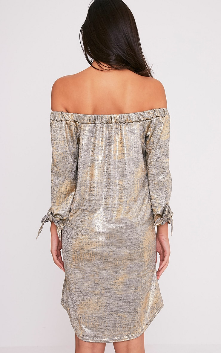 Daryl Gold Metallic Long Sleeve Bardot Shift Dress 2