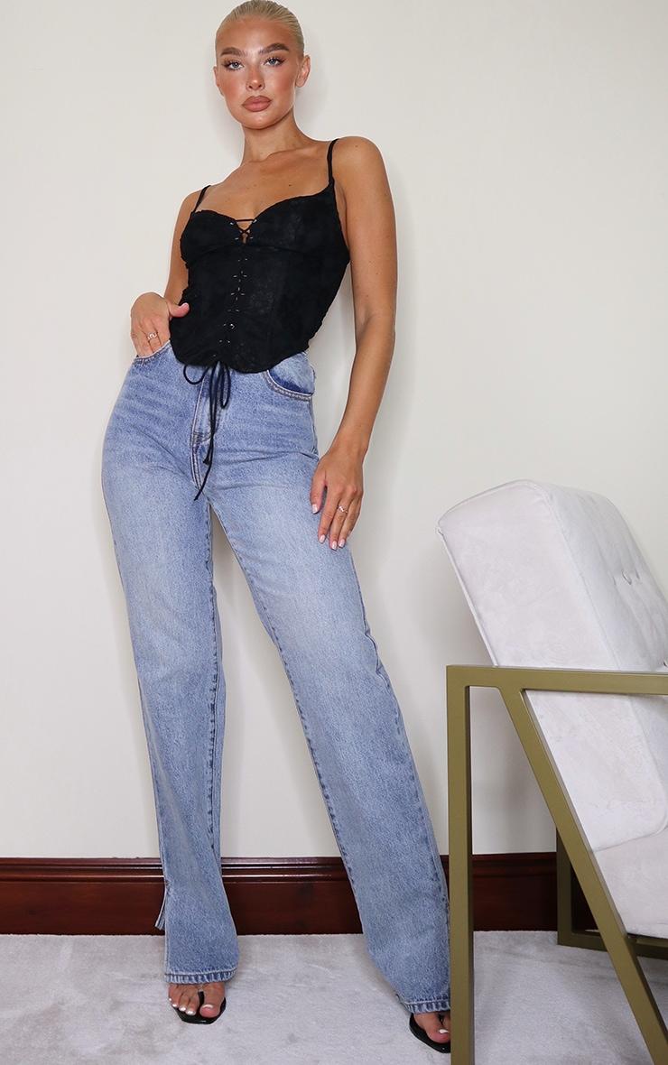 Top style corset court noir à ourlet incurvé et lien nouable  3