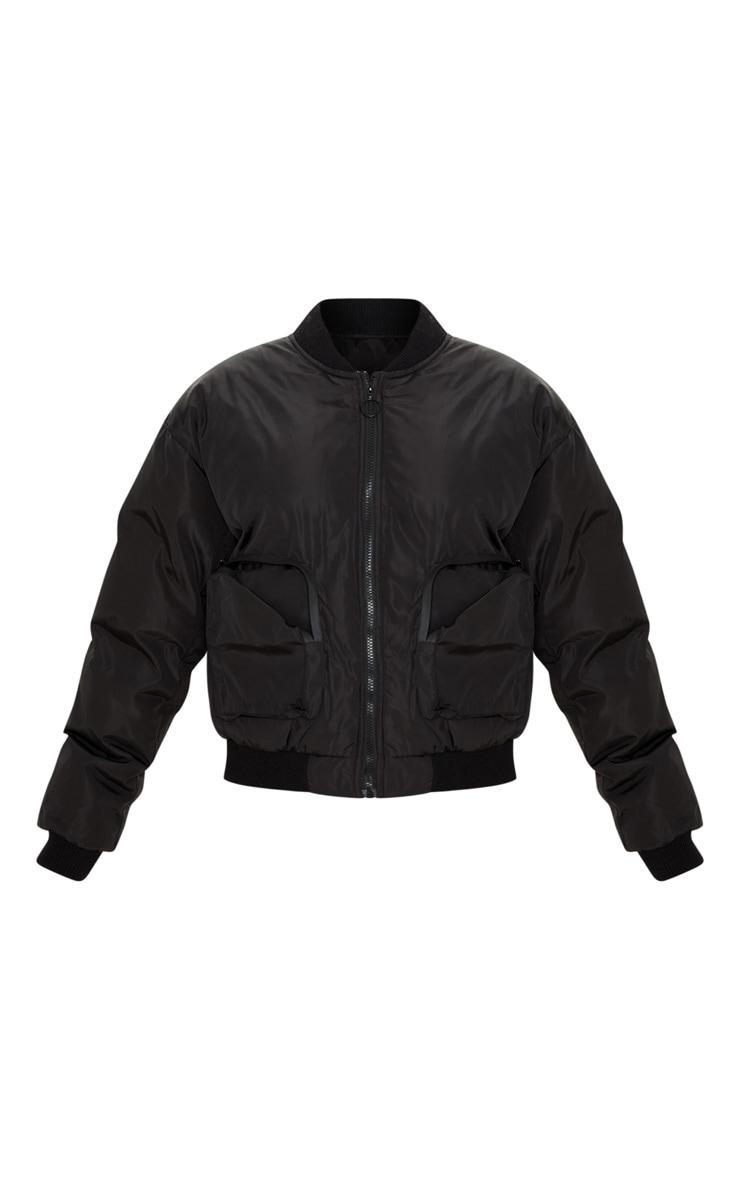 Black Pocket Zip Up Bomber Jacket 3