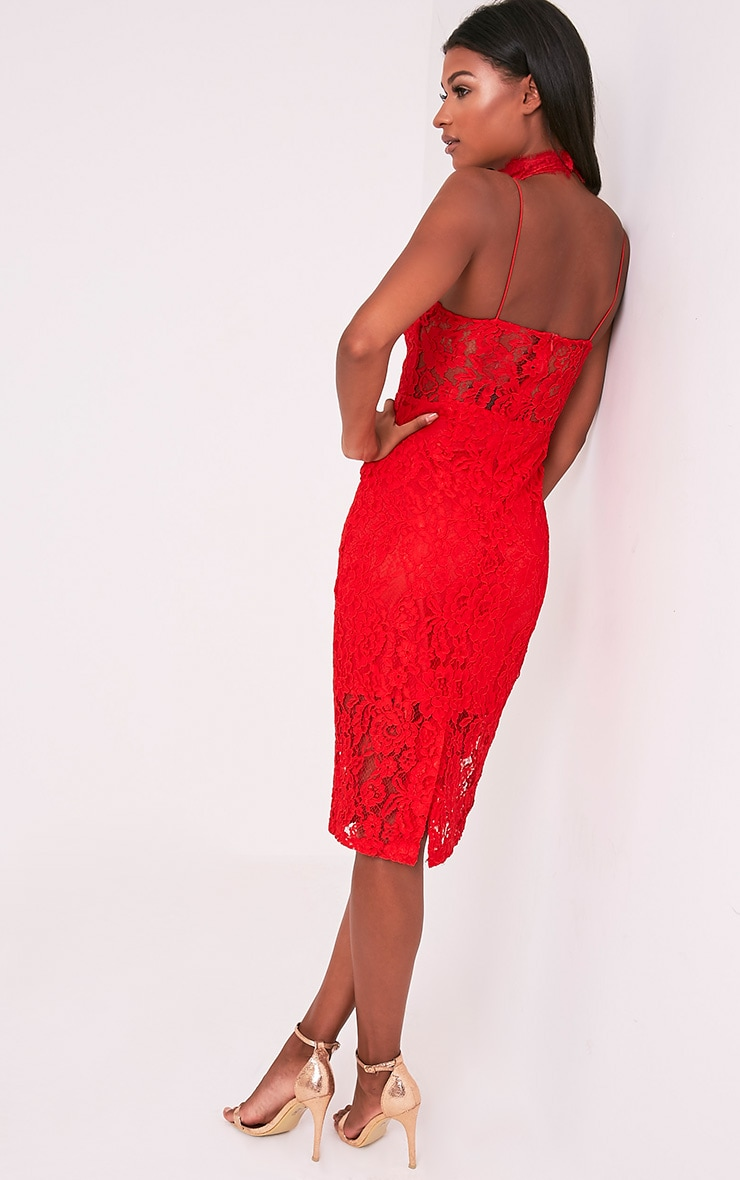 Ciana Red Choker Detail Lace Midi Dress 5
