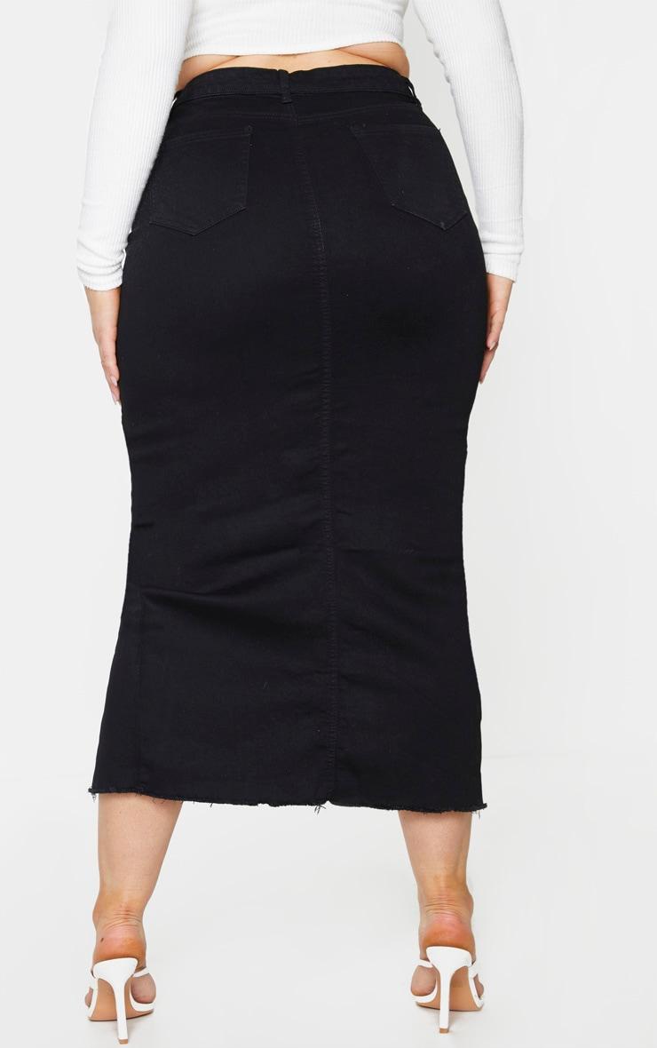 Plus Black Denim Split Hem Midaxi Skirt 3