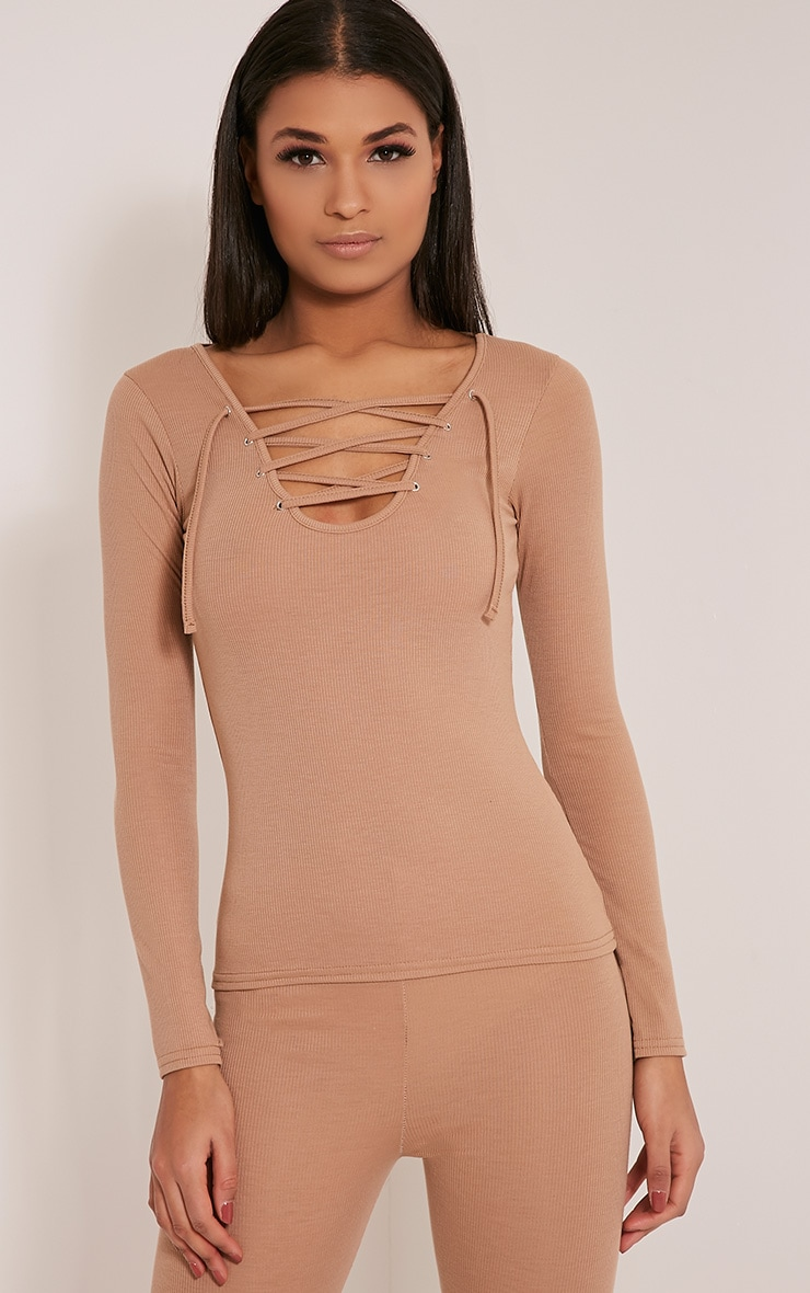 Luco Taupe Lace Up Ribbed Top 1