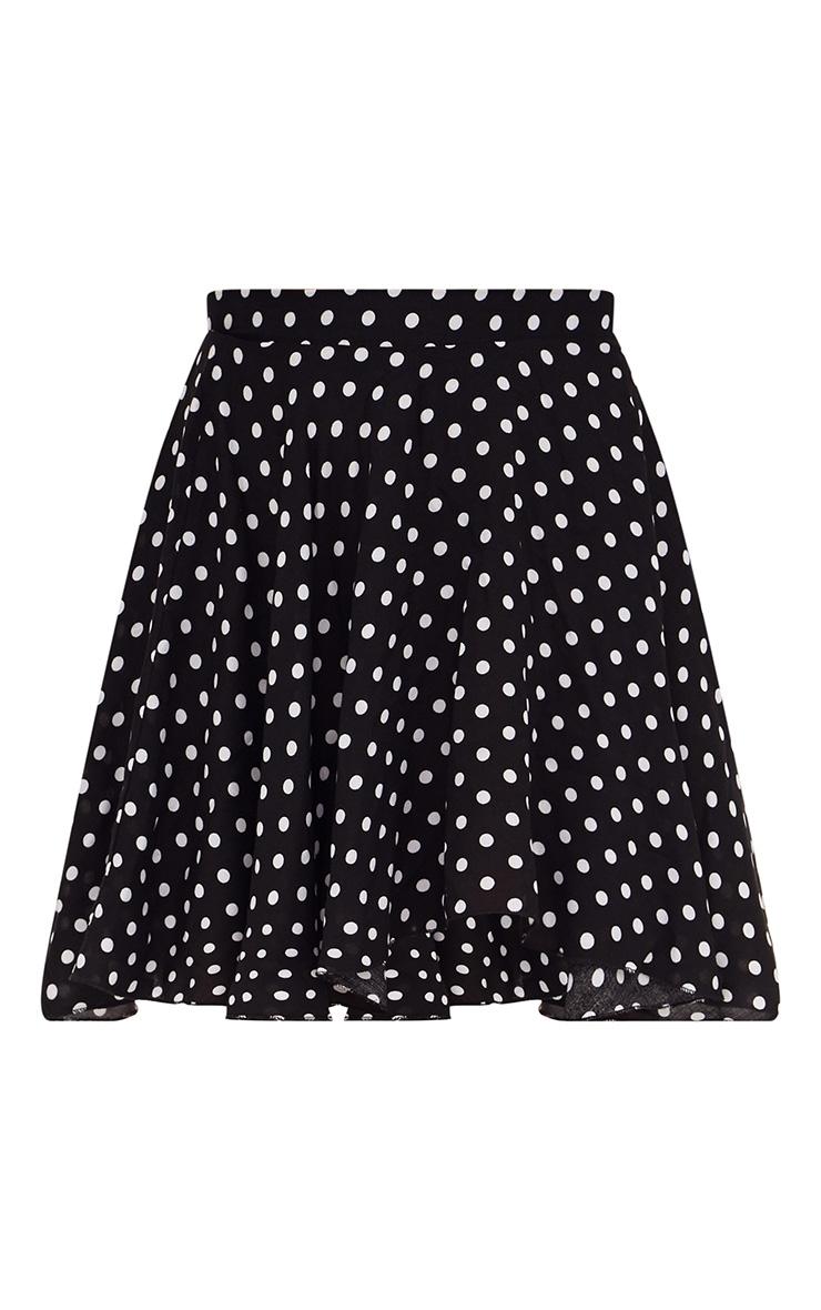 Black Polka Dot Floaty Mini Skirt 3