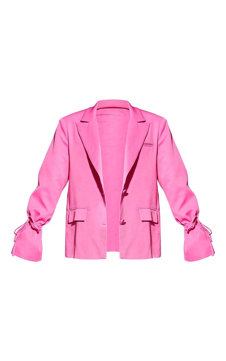 Petite Pink Oversized Tie Cuff Suit Blazer 5