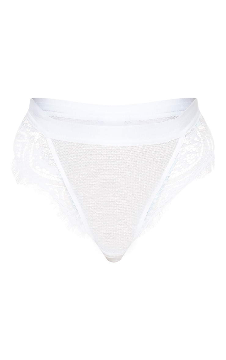 White Lace And Fishnet High Waist Panties 3