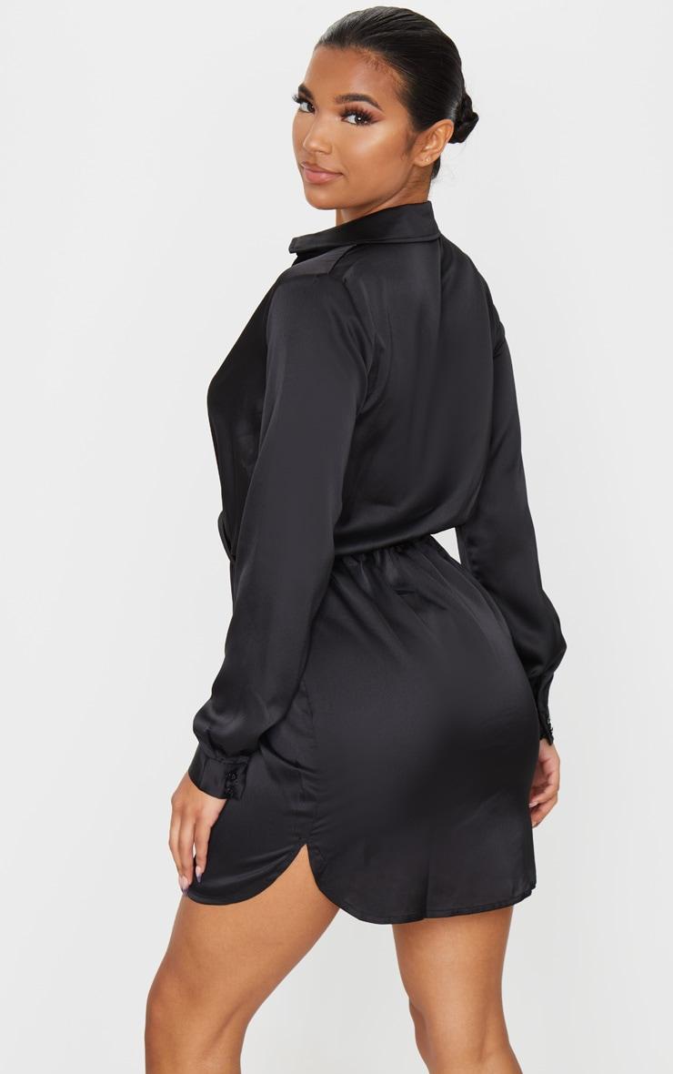 Katalea Black Twist Front Silky Shirt Dress 2