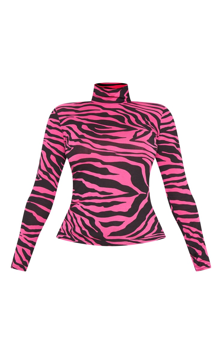Neon Pink Zebra Printed High Neck Top 3