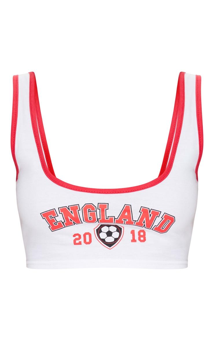 England Slogan Football White Scoop Neck Crop Top 3